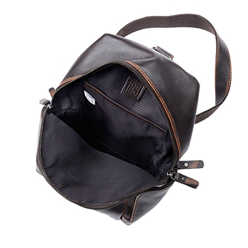 Herren-Schulterrucksack aus echtem Leder mit 2 seitlichen Fächern und verstellbarem Schultergurt von DUDU Braun