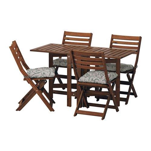 APPLARO エップラロー テーブル+折りたたみチェア4 屋外用, ブラウンステイン, ステゴーン ベージュ 591.563.96 B07DYJNCX9