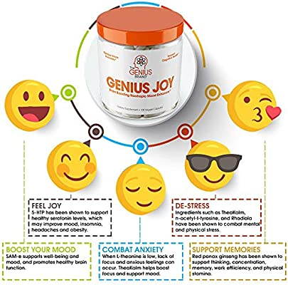 Genius Joy - Serotonin Mood Booster for Anxiety Relief, Wellness & Brain Support, Nootropic Dopamine Stack w/Sam-e, Panax Ginseng & L-Theanine – Natural Anti Stress & Herbal Calm, 100 veggie pills