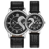 Yoyorule 1 Pair/2pc Tiannbu Ultrathin Leather Romantic Fashion Couple Wrist Watches Black