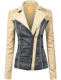 WJC1014 Womens Faux Leather Biker Denim Jacket XS...