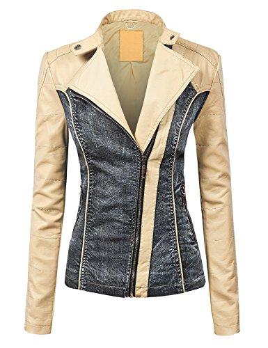 WJC1014 Womens Faux Leather Biker Denim Jacket S CREAM_BLACK Leather Biker Jeans