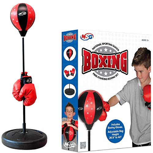 NSG Punching Bag and Boxing Gloves Set for Kids - Freestanding Base Punching Ball with Spring Loaded Height Adjustable Stand, Junior Boxing Gloves, and Hand Pump - Ages 3+