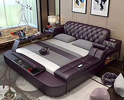 Amazon.com: WANGYONGQI Genuine Leather Bed Frame Soft Beds ...