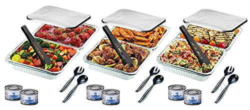 Disposable Chafing Pans Dish Set - 30-Piece Buffet Serving Chafer Combo Includes Full Size and Half Size Aluminum Steam Table Pans with Lids, Gel Fuel Cans and Serving (Disposable Dish Set)
