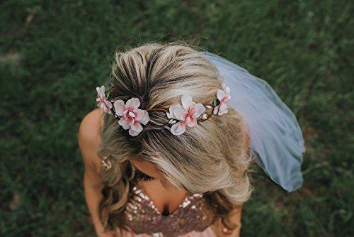 Flower Crown Veil - Bachelorette Veil - Braided Blush ()