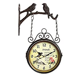 Puto Double Sided Wall Clock Wrought Iron Two Faces Bird Clock with Birds Antique Wall Clock Hanging Clock with Mounting Bracket, Brown 7 inches