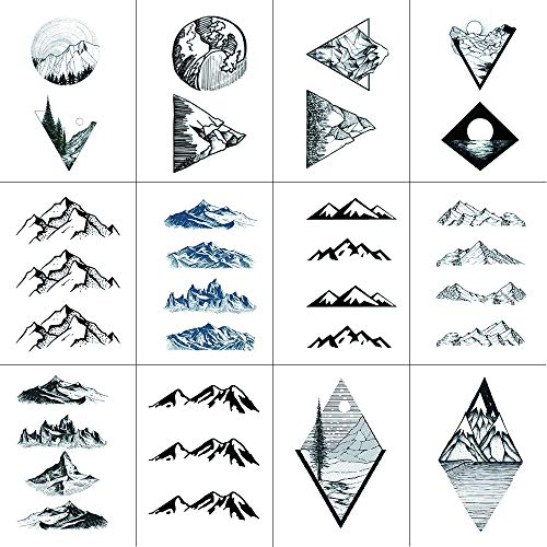 Set of 12 Waterproof Temporary Fake Tattoo Stickers Mountain Wave Ocean Classic Geometric