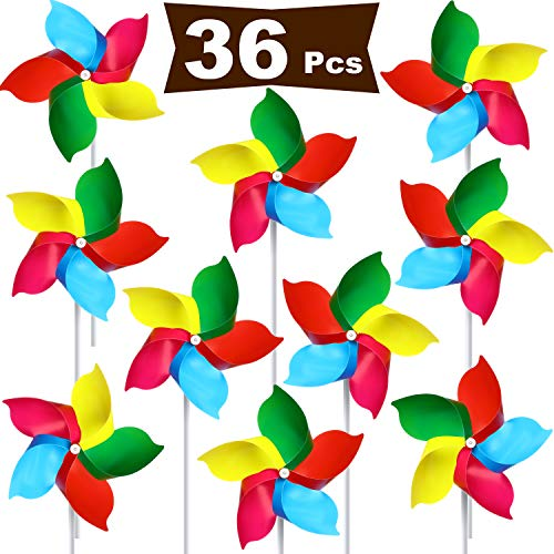 Hestya Plastic Rainbow Pinwheel, Party Pinwheels DIY Lawn Windmill Set for Teenagers Toy Garden Party Lawn Decor (36, Multicolor D) (Garden Plastic Pinwheels)