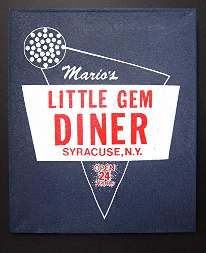 (Mario's Little Gem Diner | Upcycled Vintage T-shirt Wall Art Hanging | Syracuse)