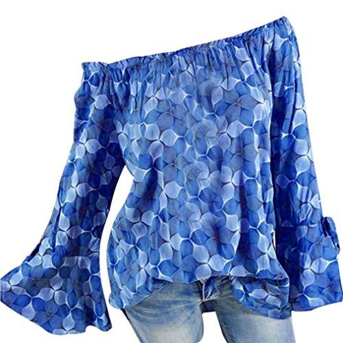 HOSOME Women Slash Neck Printing Top Women's Autumn Horn Long Sleeves Plus Size Loose Blouse Sky Blue (Shop Apparel Long Sleeve Horns)