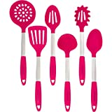 Magenta Pink Cookware Set - Stainless Steel & Silicone Heat Resistant Cooking Tools - Spatula, Mixing & Slotted Spoon, Ladle, Pasta Fork Server, Drainer - Bonus Ebook!