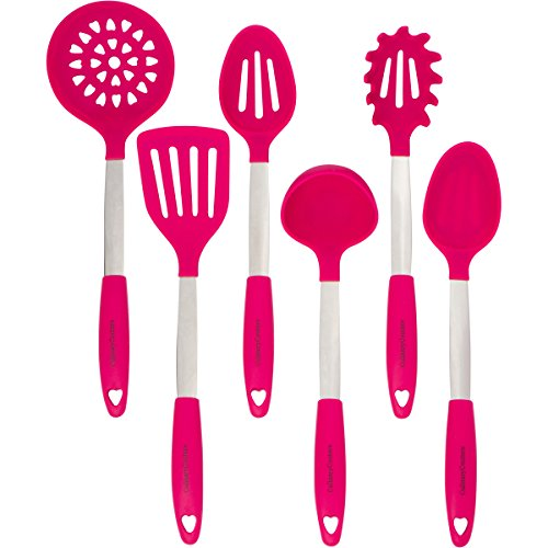 Stainless Steel and Silicone Cooking Utensil Set with Ebook - Magenta