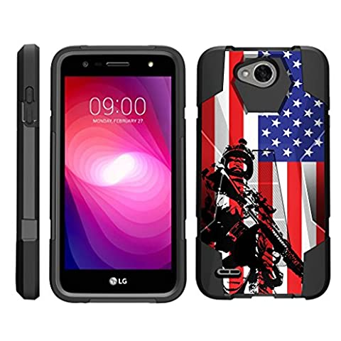 TurtleArmor   LG X Power 2 Case   LG K10 Power Case   LG X Charge Case [Dynamic Shell] Impact Hard Kickstand Hybrid Shock Silicone Cover Robot Military Army Design - American (Lg Dynamic 2 Phone Case Camo)