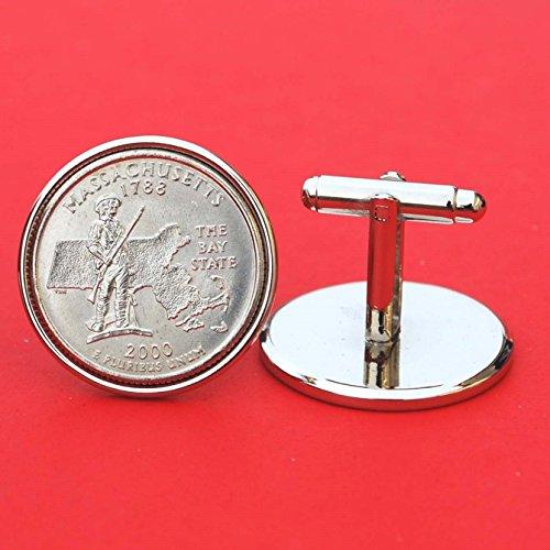 US 2000 Massachusetts State Quarters Bu Unc Coins Cufflinks NEW