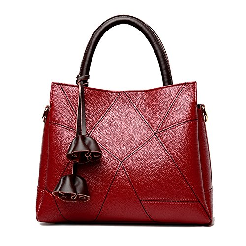 JUMENG Luxury Tote Bag for Women Genuine Leather On Sale Cross Body Purse Tassel Red Luxury Leather