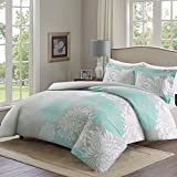 Comfort Spaces - Enya Duvet Mini Set - 3 Piece - Aqua and Grey- Floral Printed Pattern - Full/Queen size, includes 1 Duvet Cover, 2 Shams