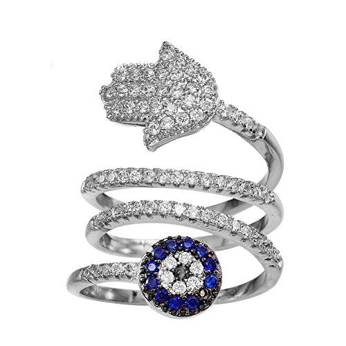 KIVN Fashion Jewelry Tiny Pave Spiritual Hamsa Hand Evil eye CZ Cubic Zirconia Finger Rings for Women (7)
