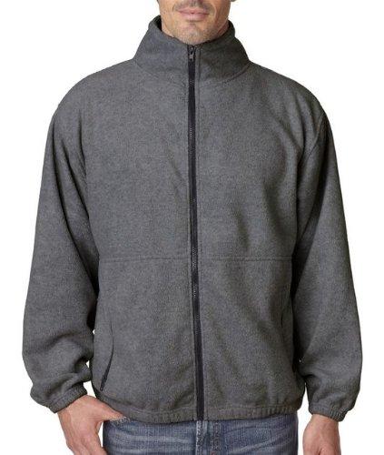 UltraClub Men's Iceberg Fleece Full-Zip Jacket - Black - Large