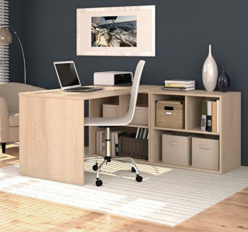 Bestar 150869-38 i3 L-Shaped Desk, Northern Maple - Bestar Office Space Corner
