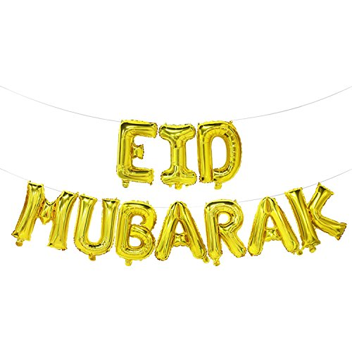 Ramadan Eid Mubarak Balloons Gold | Eid Mubarak Banner | Ramadan Eid Party Decorations | Islamic Muslim Party Decorations Supplies, 16inch