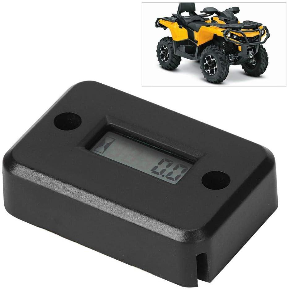 Schwarz ABS Motorrad Tach Vibration Betriebsstundenz/ähler Wasserdicht f/ür ATV Gasmotor Gorgeri Betriebsstundenz/ähler