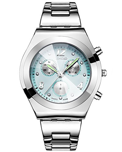 GuTe Women Quartz Watch,Silver Quartz Analog Light Blue Dial and Silver Bracelet Watch (Blue) (Dial Light Womens Silver)