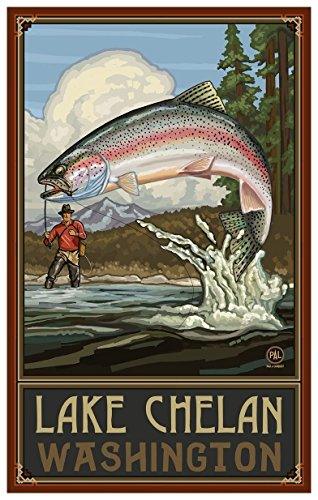 Lake Chelan Washington Rainbow Trout Fisherman Mountains Travel Art Print Poster by Paul A. Lanquist (12