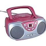Sylvania srcd243reproductor portátil de CD con radio AM/FM, Boombox (rosa), Rosado