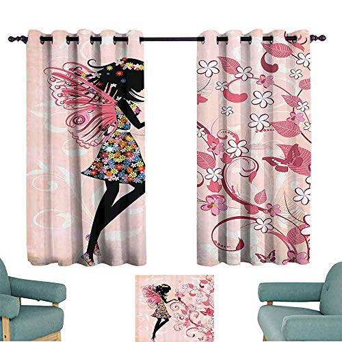 (DILITECK Bedroom Curtains 2 Panel Girls Fairy Pink Butterflies and Flowers Beautiful Glamour Girl with Colorful Floral Dress Angel Wings FAE Queen Feminine W55 xL45 Black Baby Pink White)