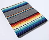 Cheap El Paso Designs Serape Style Falsa Blanket. Classic Mexican Style Serape Pattern in Vivid Colors. Hand Woven Acrylic, 57″ x 74″. (Grey)
