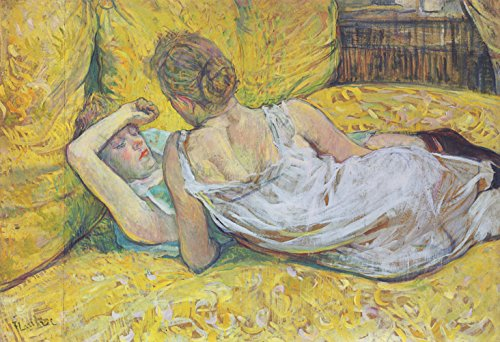 Henri Toulouse Lautrec - Lying on A Yellow Bed - Small - Semi Gloss - Unframed Vintage Wall Art Poster Picture Giclee Artwork Modern Contemporary & Fine Art Print ()