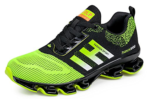 Weishan Black Springblade Jogging Shoes for Mens mesh Breathable Slip on Comfortable Boys Trail Running Shoes Outdoor Travel Shoes Size 10 (656-green-44) by Weishan (Image #1)
