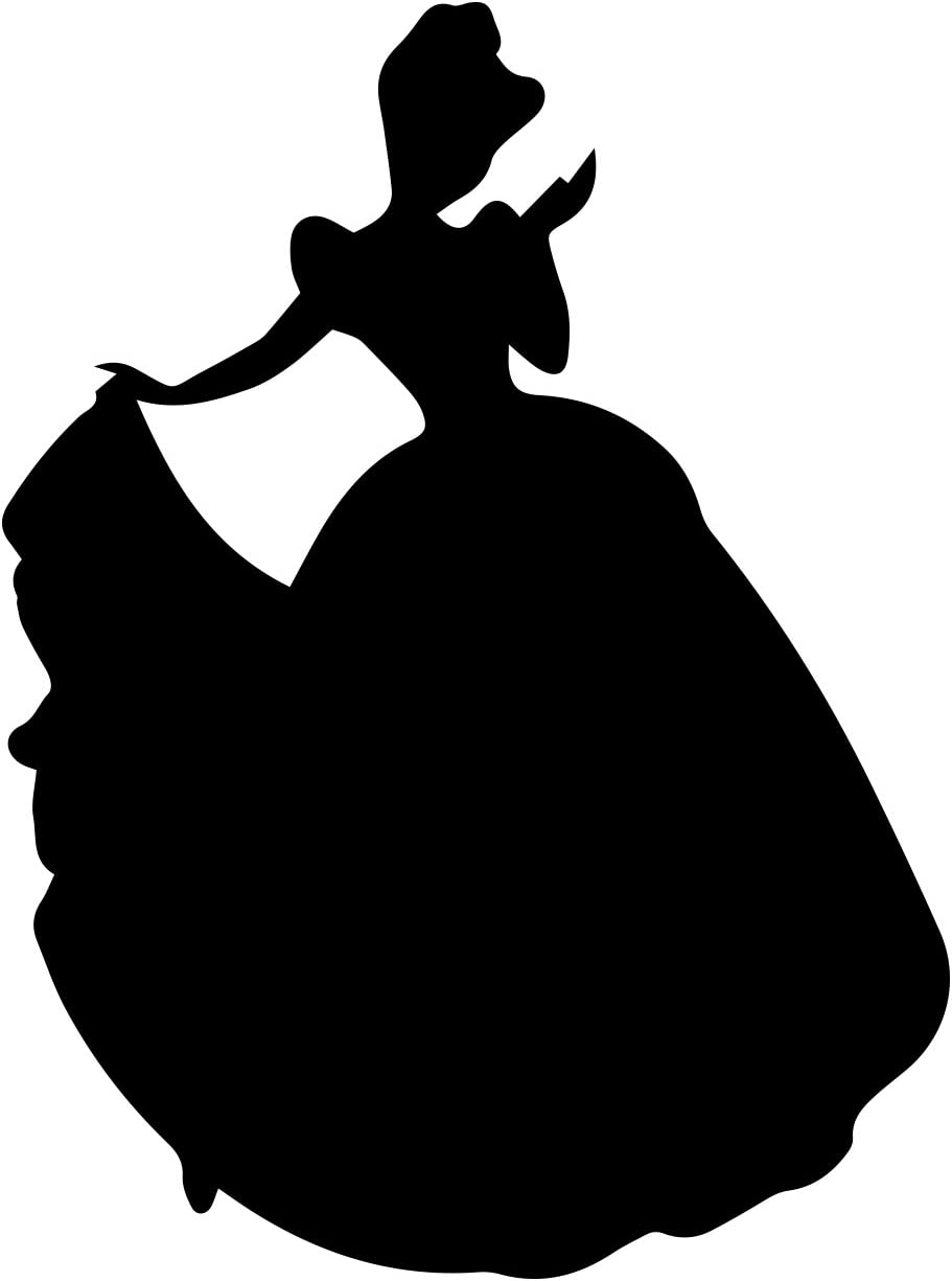"Princess Wearing Gown Decal Notebook Car Laptop 5.5"" (Black)"