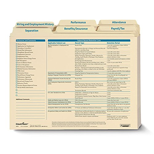 Complyright Employee Record Organizer 6 Folder Set 25