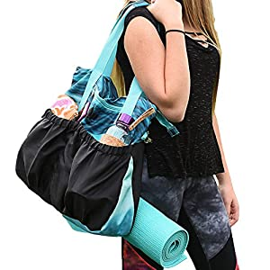 Small Yoga Bags, Yoga Mat Bag or Yoga Tote Bag has Many Pockets with Inside Padded Tablet Compartment
