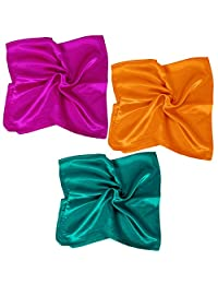 BMC 3 pc Solid Color Large Size Lightweight Square Shape Fashion Silk Scarves - Set 1: Bright Solids