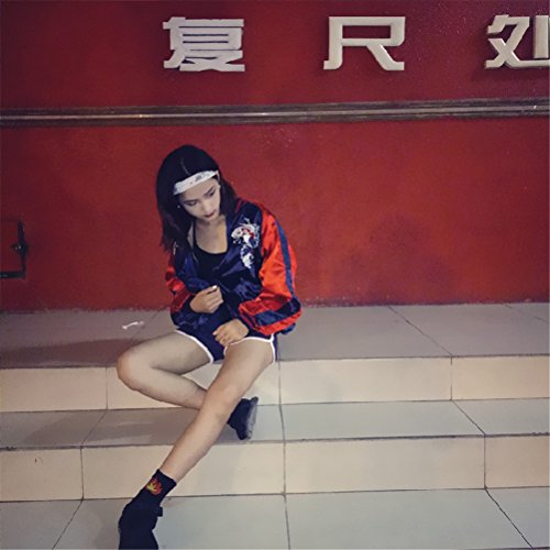 manches Casual broderie BF Jacket Baseball Rouge Mode vrac en Femmes longues Harajuku style twxT8qpA