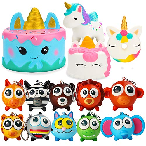 R HORSE Cute Big Eye Animal Squishies Set Narwhal Cake, Unicorn Cake, Unicorn Donut, Lion, Elephant, Monkey Slow Rising Cream Scented Squishies Stress Relief Squeeze Toys for Kids and Adults(14 Pack)