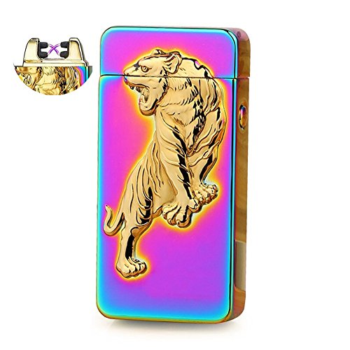 Anyea USB Cigarette Lighter, Double Arc Cigarette Windproof Lighter Relief Tiger - Bring To Of Camping List Things