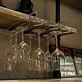 Modern Metal Under Cabinet Wine Glasses Stemware Hanger Storage Holder Rack, Silver-Tone