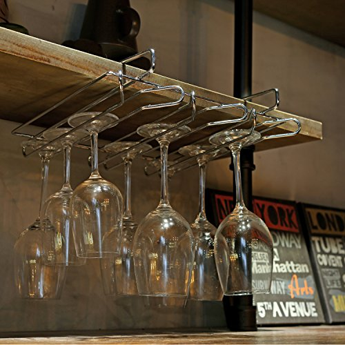 Modern Metal Under Cabinet Wine Glasses Stemware Hanger Storage Holder Rack, Silver-Tone by MyGift