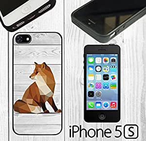 Geometric Fox on Wood Custom made Case/Cover/Skin FOR iPhone 5/5s -Black- Rubber Case (Ship From CA) by Maris's Diary