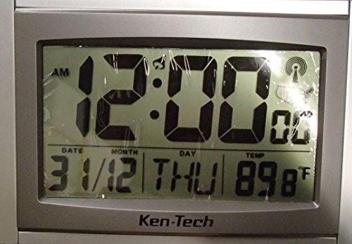 Ken-tech Atomic Radio Controlled Alarm Clock Jumbo 2 Inch Ti