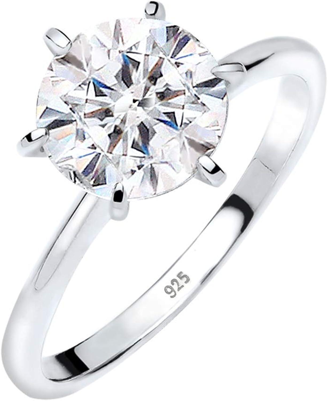 Elli Anillos de compromiso para damas con cristales de Swarovski en plata esterlina 925