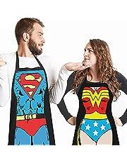 DX 2 Sets Humoristische BBQ Schorten Voor Mannen Vrouwen Werk Restaurant Keuken Grappig Cadeau Hobby Koks Vaderdag Kerst Verjaardag Blijheid Man en Vrouw koken Koppels Versie Schort Superman Versie
