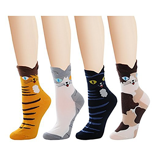 Deer Mum Girl Fashion Cartoon Cat Fruits Cotton Crew Socks (set6)