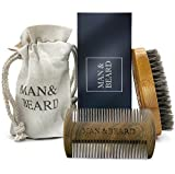 Man&Beard – Handmade Bamboo Beard Dual Action Comb and Bamboo Brush with Wild Boar Bristles for Men. Perfect Facial Hair Care and Growth Kit for Beard and Mustache Styling in Premium Gift Box