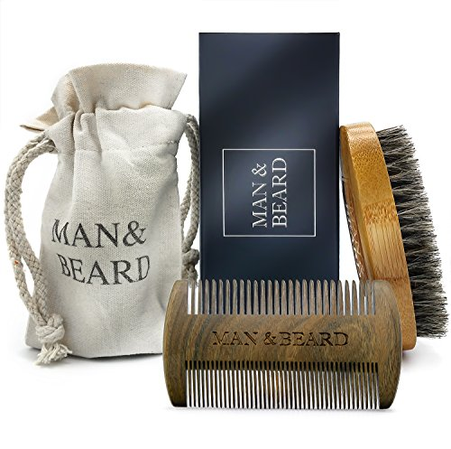 ManBeard – Handmade Bamboo Beard Dual Action Comb and Bamboo Brush with Wild Boar Bristles for Men. Perfect Facial Hair Care and Growth Kit for Beard…