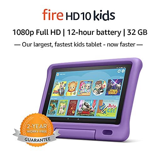 "Fire HD 10 Kids Tablet – 10.1"" 1080p full HD display, 32 GB, Purple Kid-Proof Case (2019 Release)"